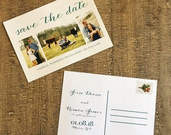 Save the date postcard, Save the date postcards, Teal Save the dates, Script Save the dates, elegant save the dates