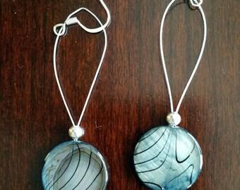 Blue shell drop earrings