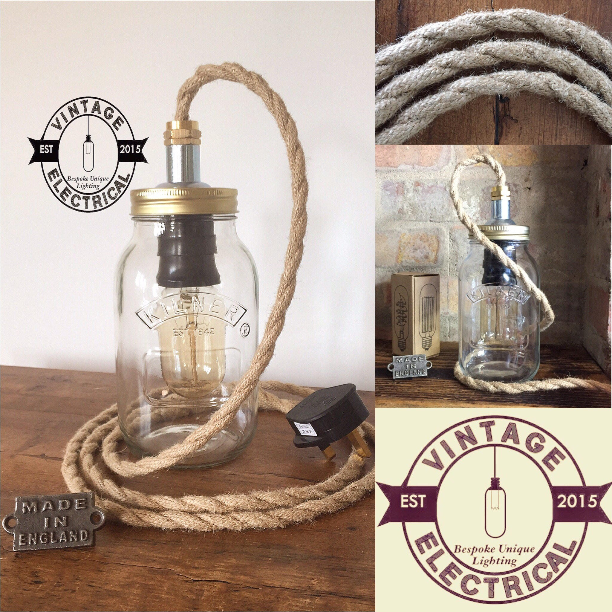 Edison Lamp Rustic Decor Unique Table Lamp Industrial: The Kirby Kilner Rope Mason Jar Table Light Industrial
