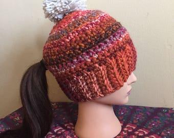 Ponytail pom pom hat- Reds and Oranges