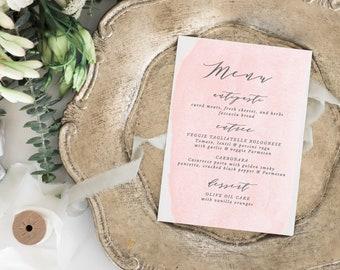 Blush Printable Wedding Menu Template, Rustic Wedding Menu, Script Wedding Menu, Watercolor Printable Menu, Editable Colors in Templett