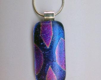 Fused Dichroic Glass Pendant - Pink Purple Geometric