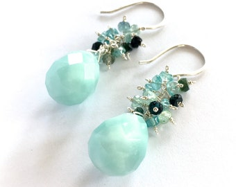 Amazonite and Blue Tourmaline Dangle Sterling Silver Earrings