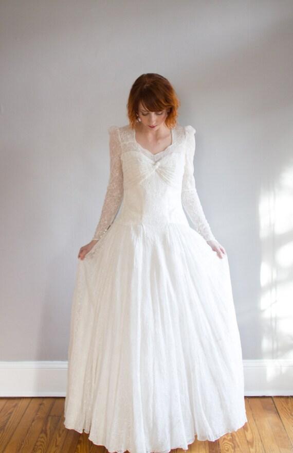 1930-Spitze-Langarm-Hochzeits-Kleid