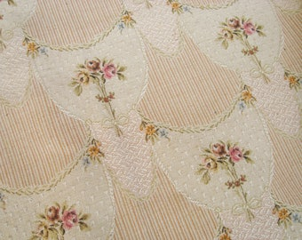 Antique French curtains, Tapestry curtains, French drapes, Antique French fabric, 1900's curtains, roses and ribbons fabric, French country