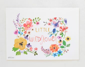 Flower art, nursery decor, Little Wildflower, giclée print, Kit Chase artwork, 5x7, 8x10, 11x14