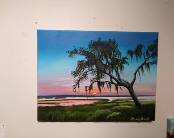 Beautiful original oil on canvas of a live oak tree with Spanish moss on the Marsh!! Beautiful sunset colors!!