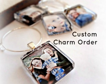 2 Custom Image Wine Charms - 1-inch Squares - Glass Wine, Coffee Mug or Tea Cup Party Favors - Send ANY images for these charms