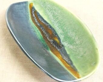 Vintage Studio Ceramics Bowl, Shallow Dish, Fine Art Pottery, Serving Pieces, Entertaining, Asian Style, Handmade, Kitchen, Rectangular,Blue