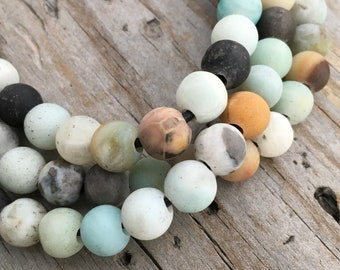 Amazonite Bead Strand 8.5mm Matte Amazonite Bead Large Hole