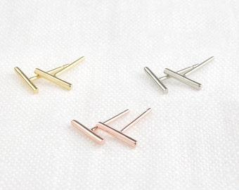 14k solid gold bar earrings, dainty bar earring, tiny bar studs earrings, mini bar earrings, yellow gold, rose gold, white gold