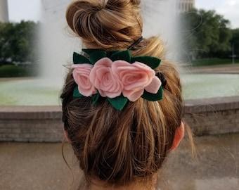 felt flower french barrette girl women gift handmade