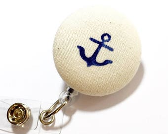 Anchor Nautical Badge Reel Retractable ID Badge Reel ID Badge Holder Name Badge Clip Badge Pull Nurse Badge Reel Retractable Badge Holder
