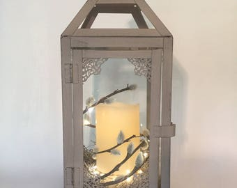 Small Lantern with candle/grey lantern/gray lantern/wedding lantern/fairy light/unique gift/vintage lantern with candle