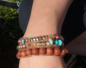 Goldstone wrap bracelet