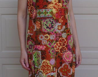 john abbot BRIGHTLY COLORED SHIFT dress vintage 1960's 60's S 36 bust