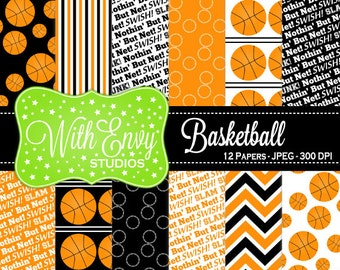 SALE  Basketball Digital Paper - Basketball Scrapbook Paper - Sports Digital Paper - Black and Orange Paper - Personal & Commercial Use