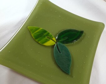 Olive Green Fused Glass Dish with Leaves(TD77)
