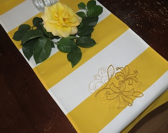 Mother's Day Gift, Yellow &  White Table Runner with a Gold Lily Embroidered, 50X11 Table Runner, Gold Lily Flower, Easter Table Runner