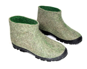 Ankle Boots for men Wool shoes for Men, Mens Felted Slippers Organic wool shoes Eco wool boots, Wool felt shoes Wool felt boots Gift for Him