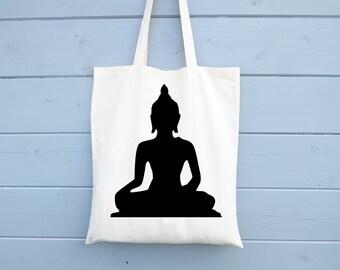 Buddha, Tote Bag, Om, Shopping Bag, Gift for Her, Cotton Bag, Canvas Bag, Market Bag, Grocery Bag, Shopper, Reusable, Biodegradable Cotton