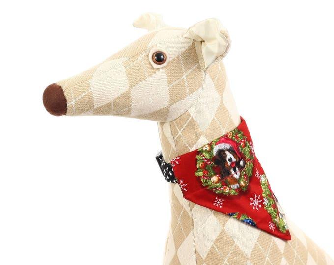Pet Bandana - Christmas Dogs on Red - Pet Scarf - Collar Cover - Christmas