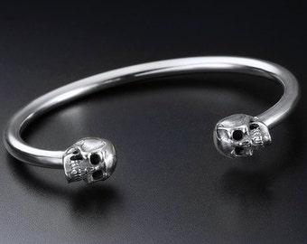 silver skull cuff-human skull cuff-Bangle-Sterling Silver Skulls Cuff Bracelet-Skull Bracelet-Skull Cuff-skull jewelry-punk cuff bracelet