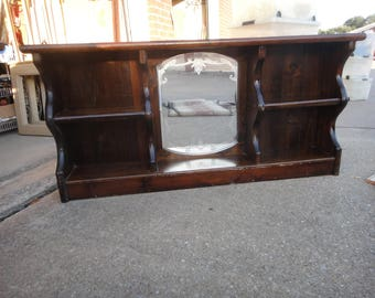 Classic Mirrored Waterbed Headboard 1980's solid wood PICK UP ONLY