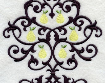 Damask Tree with Pears Embroidered Flour Sack Hand/Dish Towel