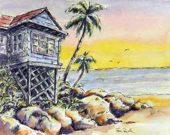 Island Sunset - art print of my original watercolor painting