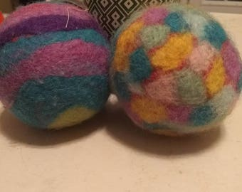 Large artistically felted dryer balls