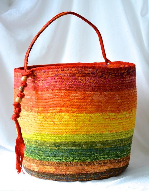 Rustic Batik Basket, Gorgeous Batik Tote Bag, Picnic Basket, Gift Basket, Earth Tone Ombre Bin, Towel Holder, Beautiful Knitting Basket