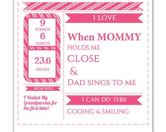 DIY Editable pdf Monthly Growth Chart Baby Girl Pink Birth Stats Infographic, Art Print Keepsake, Photo Prop, Instant Download letter size