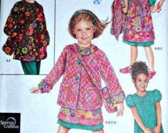 Simplicity 2918 Daisy Kingdom Sewing Pattern, Girls Dress, Jumper, Jacket & Purse, Sizes 3-4-5-6-7-8, Uncut FF