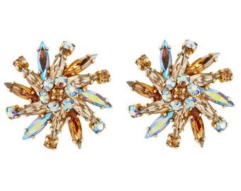 1950s SHERMAN aurora borealis vintage earrings