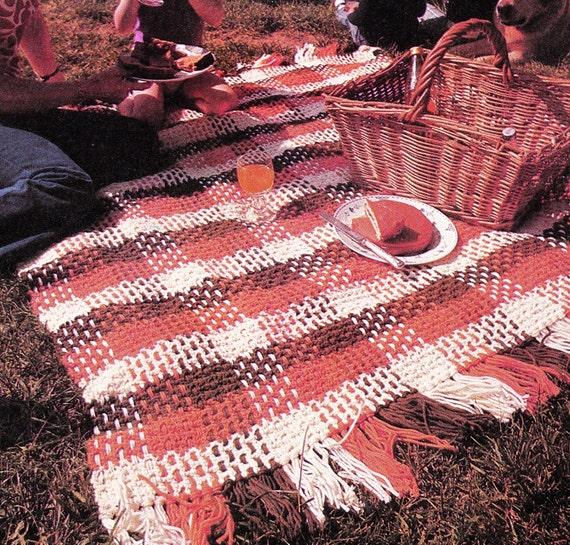 Vintage Crochet Pattern Plaid Afghan Throw Lap Blanket Pdf