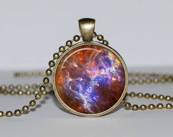 Galaxy PENDANT Nebula Pendant Necklace - BLUE Turquoise pendant Universe Jewelry - Star sky gift for women