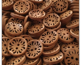 "8 or 16 Wood 23mm buttons, wood flower buttons novelty wood buttons scrapbooking sewing crafts 23mm 7/8"" 23 mm 7/8 inch hollow flower"