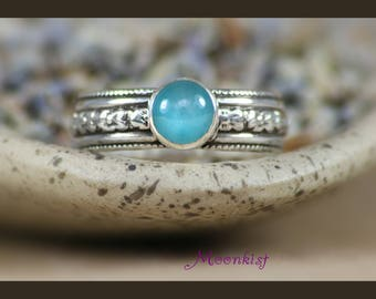 Aqua Gemstone Ring - Sterling Silver Flower Ring - Aqua Blue Chalcedony Ring - Aqua Promise Ring - Floral Ring - Blue Silver Ring - Size 6