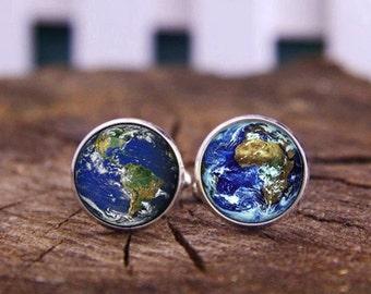 World Earth Cufflinks, Planet Earth Cufflinks, Planet Cuff Links, Custom Wedding Cufflinks, Groom Cufflinks & Tie Clip, Astronomy Jewelry