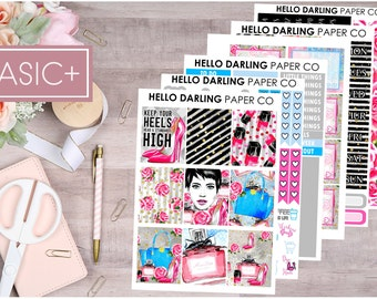 Fashion Weekly Kit, Girl Boss Weekly Kit, Planner Stickers, Stickers for, Erin Condren, Life Planner, Makeup Weekly Kit, K065