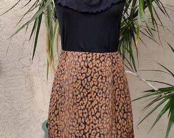 90's brown skirt, black swirls, beaded sash, designer, vintage, knee length