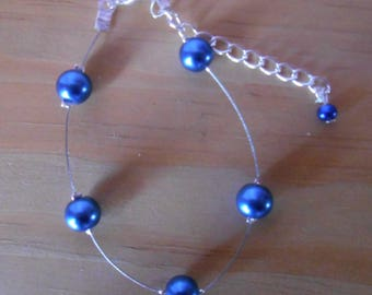 Classic wedding bracelet Royal Blue beads