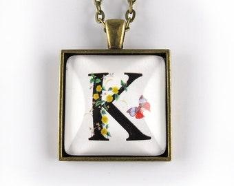 Letter K pendant - flowers and butterflies
