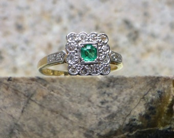 Art Deco Emerald and Diamond Ring, Vintage Engagement Ring, Antique Emerald Ring, 18k and Platinum Ring