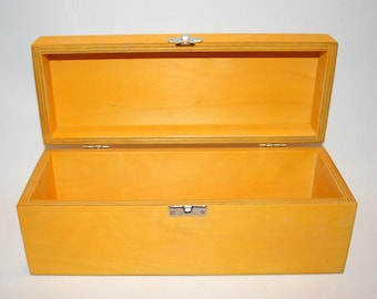 Yellow Wooden Box / Gift Box / Wooden Keepsake Box / Storage Box 9.84 x 3.15 x 3.74 inch