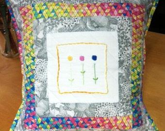 Baby Cushion.Patchwork Cushion.Hand Embroidered Cushion.Nursery Cushion.BabyGift.Nursery Pillow.Nursery Decor.Matching Quilt.