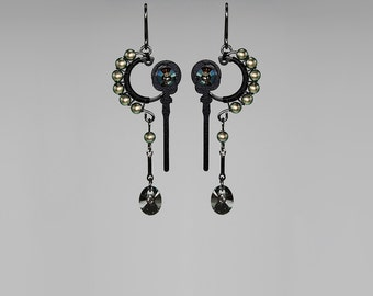 Steampunk Earrings, Iridescent Green Swarovski Crystal and Pearls, Swarovski Earrings, Green Crystal, Bridal Jewelry, Phthonus II v5