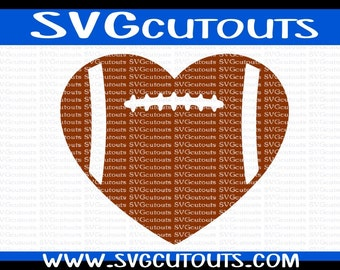 Heart Shaped Football Design, SVG DXF EPS Formats, Files for Cutting Machines Cameo or Cricut Football Heart Cutting File