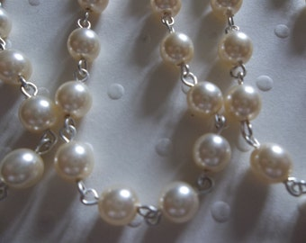 Beaded Chain - Pearl Bead Chain - Rosary Chain - 6mm Ivory Cream Pearls - Silver Bead Chain - Glass Pearls - Jewelry Supplies
